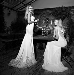 Marilyn & Claudia-The St-Tropez Cruise by Galia Lahav.  (left)  Marilyn - Slender mermaid dress, silk satin appliqued with lace enbroidered netting, back and hem
