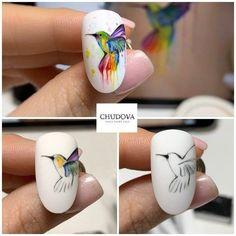 Animal Nail Designs, Nail Art Designs Videos, Gel Nail Designs, Disney Acrylic Nails, Acrylic Nail Tips, Bird Nail Art, Animal Nail Art, Nail Art Blog, Nail Art Hacks