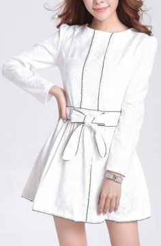 White Long Sleeve Bow Contrast Trim Embroidered Dress