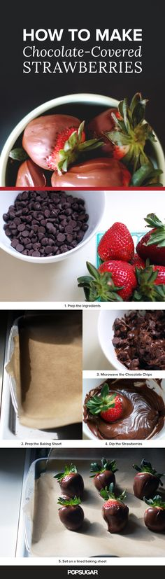 How to make chocolate-covered strawberries at home using two ingredients (chocolate chips and strawberries)!