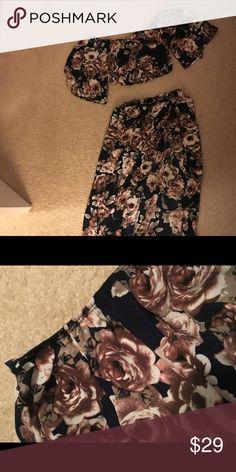 Floral Crop Top and Skirt Set Romantic Dresses Maxi