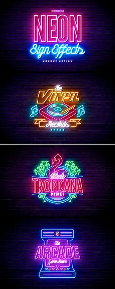 Neon Lights Retro Logos Effects This graphic resource gives you a quick & easy possibility to apply a high quality and classic neon style to your text, artwork or logo. You can use it on simple text, shapes and vector logo. You just need to replace t Neon Design, Design Logo, Graphic Design, Retro Logos, Vaporwave, The Smiths, Home Bild, Neon Logo, Effects Photoshop