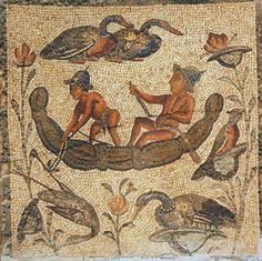 Scena di pesca nilotica con piccola imbarcazione di papiro - Libia (villa Zilten o villa Dar Buc Ammera)