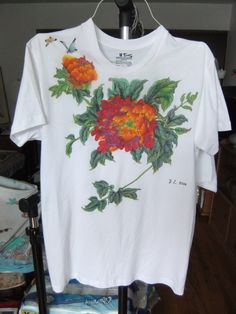 Hand-painted T-Shirt peony by art4u on Etsy