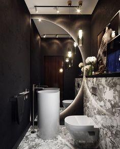 Elizabeth Arden Retinol Ceramide Capsules Line Erasing Night Serum In the design of this guest bathroom, we used an unusual solution with a mirror,. - In the design of this guest bathroom, we used an unus Bathroom Design Luxury, Bathroom Designs, Bathroom Ideas, Small Bathroom, Minimal Bathroom, Bathroom Organization, Zen Bathroom, Bathroom Inspiration, Mirror Bathroom