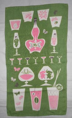 Tammis  Keefe LINEN CocKTaiL TOWEL / kitchen towel 1950's pink elephants and drink motifs