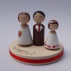 Personalisierter Cake Topper mit Brautpaar und Kind