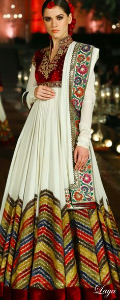 White & Red Ethnic Indian Anarkali |By Rohit Bal | Spring-Summer Collection 2015