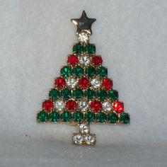 Gold Tone and Rhinestone Christmas Tree Brooch Pin 4272cb3b2a1a
