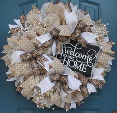 Everyday Wreath, Deco mesh wreath, Wedding decor, Customized wreath, spring wreath, Lace and Burlap wreath, Shabby Chic by WonderfulWreathsKim on Etsy https://www.etsy.com/listing/225873968/everyday-wreath-deco-mesh-wreath-wedding