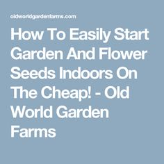 How To Easily Start Garden And Flower Seeds Indoors On The Cheap! - Old World Garden Farms
