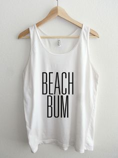 Beach Bum Typography Unisex Sheer Jersey Tank Top by American Apparel