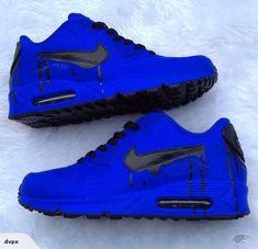 Nike Air -Sapphire Flavor bluberry matte paint with a black drip! Nike Air Shoes, Air Max Sneakers, Nike Air Max, Sneakers Nike, Nike Shoes Outlet, Air Max 90, Green Sneakers, Sneakers Women, Shoes Sport