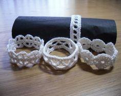 Crochet Napkin Rings, Set of 4, Napkin Rings,Serviette Rings,Table Decor, Rustic, Shabby Chic,Home Decor,Wedding Table Decor