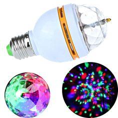 B22 3W LED RGB Stage Lamp Light Bulb Crystal-like Auto Rotating Party Disco Bar
