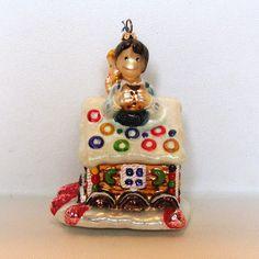 Gingerbread House Sweet Tooth Christmas Ornament Joy to the World Glass Glitter #JoytotheWorld