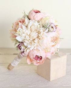 Silk Bridal Bouquet Pink Peonies Dusty Miller Garden Rustic Chic Wedding NEW…