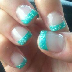 I like this color :) nails :) nails, glitter nails, bridesmaids nails. Teal Nails, Shellac Nails, Glitter Nails, My Nails, Acrylic Nails, Nails Turquoise, Turquoise Color, Nail Nail, Nail Polish