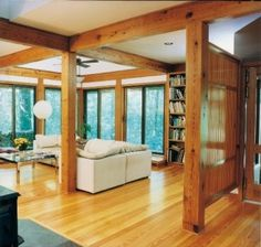 Pine beams can help create a very modern and minimalist feel to your home by adding an interest piece.