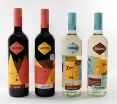 """Packaging Design: Sangwine - Designed by Illustrator Lydia Nichols - """"Sangwine, an invented vineyard, is all about embracing the California lifestyle. Each bottle features something quintessentially Californian from the PCH to the redwood forest."""" 