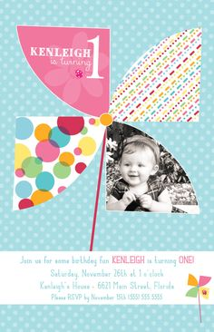 Pinwheel Party Birthday Invitation - DEPOSIT. $18.00, via Etsy.