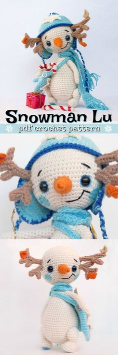 Sweet little snowman pattern to crochet. Detailed step by step instructions on how to make your own snowman doll toy. So cute! #etsy #ad #pdf #download #crochet #amigurumi