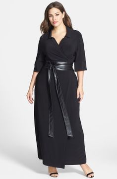 Taylor Dresses Faux Leather Belted Maxi Wrap Dress (Plus Size) | Nordstrom