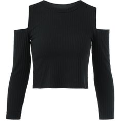 Cold Shoulder Plain Cropped Sweater (290 UYU) ❤ liked on Polyvore featuring tops, sweaters, shirts, crop tops, open shoulder shirt, cropped shirts, cold shoulder sweaters, cut-out crop tops and cut-out shoulder tops