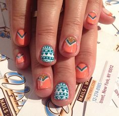 Tribal Nails coral, gold, white, blue