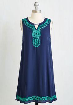For Festivities' Sake Dress - Blue, Solid, Embroidery, Casual, Boho, Shift, Sleeveless, Summer, Good, Mid-length