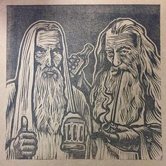 One beer to bind them Saruman and gandalf sharing a beer print signed by charlesstateart on Etsy https://www.etsy.com/listing/523826626/one-beer-to-bind-them-saruman-and