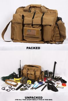 This is the type of B.O.B. (Bail Out Bag) that I will own. It is my all purpose BOB that stays in my trunk and hold emergency items. Not all items shown in the picture represent what I have in mine. I have winter gloves, hat, water tabs, 80' rope, spare m