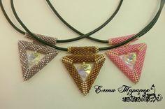 3d peyote triangle pendant with bail #3D #pendant