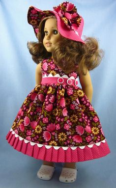 18 Inch Doll Clothes - Sundress and Hat in Coral and Plum Ag Clothing, Ag Doll Clothes, Doll Clothes Patterns, Doll Patterns, Clothing Patterns, American Girl Diy, American Girl Dress, American Dolls, Our Generation Dolls