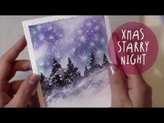 Easy to paint along Christmas night Landscape painting in watercolor. Painted Christmas Cards, Christmas Tree Drawing, Watercolor Christmas Cards, Watercolor Video, Watercolour Tutorials, Watercolor Cards, Watercolor Paintings, Watercolor Sky, Landscape Drawing Easy