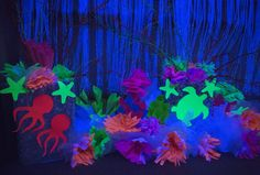 Amazing black-light decoration ideas for Ocean Commotion Vacation Bible School! #vbs2016