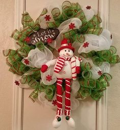 Let it Snow Christmas Wreath Snowman Wreath by SouthTXCreations