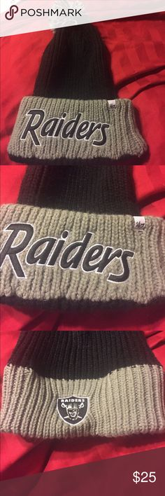 47 brand NFL oakland raiders pom knit black beanie One size. Says raiders on brim and then raiders logo on the upper flap so you can wear it 2 ways. No flaws!! Tags: derek carr khalil mack marshawn lynch amari cooper 47 brand Accessories Hats