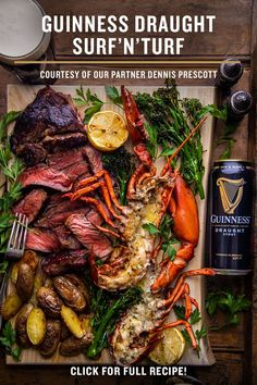 Your backyard barbecue is getting a makeover with our Guinness Draught Surf'N'Turf. Enjoy our grilled, halved lobster coated in Guinness butter, along with our Guinness marinated ribeye. Served with chimichurri, grilled broccolini and potatoes, this food pairing goes perfectly with a rich and creamy Guinness Draught for the summer barbecue recipe you've been waiting for. Have some fun on the grill this summer with Guinness and click the link for more. Irish Recipes, Meat Recipes, Seafood Recipes, Cooking Recipes, Healthy Recipes, Good Food, Yummy Food, Tasty, Bon Appetit