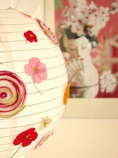 This but plain stripes instead....DIY Ideas: How to Decorate Paper Lanterns Decorated Paper Lantern