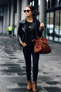 All Saints Leather Jacket, H&M Tee, Miss Selfridge Jeans, Senso Leopard Boots, Mulberry Alexa Satchel, Ray Ban Sunglasses