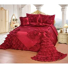 Luxury Bedspreads, Bedspreads Comforters, Red Bedspread, King Comforter Sets, Red Bedding Sets, Luxury Bedding Sets, Beautiful Bedding Sets, Bed Cover Design, Casas Shabby Chic