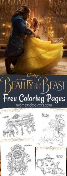 Disney's Beauty and the Beast Printable Coloring Pages - perfect for a Beauty & the Beast party or movie night!