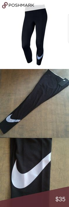 New Nike Crop Leggings New with tags attached! Raise the bar in the Nike Women's Sportswear Club Legging Capris. Their three-quarter length design allows for optimal coverage and comfort, while the elastic waistband ensures a snug fit as you move. Acting as an ideal base layer, these capris are perfect for keeping you warm during cold-weather training. A large Nike logo is screen printed onto the left calf for subtle style in a light blue. Set a new record in the Sportswear Club Legging…