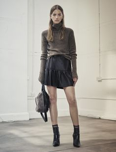 AllSaints Women's September Lookbook Look 3: Alpha Roll Neck, Haslam Leather Skirt, Kita Crossbody, Xavier Boots. Fall Fashion 2016, Work Fashion, Autumn Fashion, Fashion Outfits, Latest Fashion For Women, Womens Fashion, Grunge Fashion, London Fashion, Winter Outfits
