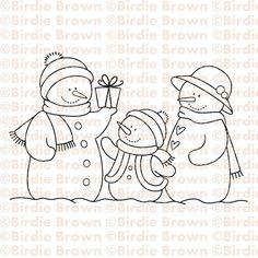 Digital+stamp++Snowmen+Family+by+BirdieBrown+on+Etsy,+$2.50