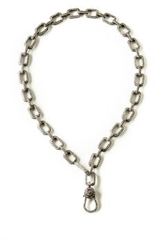 The Woods Short Square Link Diamond Chain with Diamond Clasp at ShopGoldyn.com