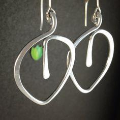 Aluminum Wire Earrings, Leaf Jewelry, Hand Hammered Leaf dangle Earrings Silver Aluminum