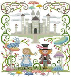 The Floss Box: Alice and the Mad Hatter Cross Stitch