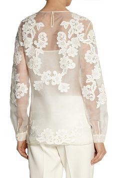 b14a356930bdc Oscar de la Renta - Embroidered silk-organza top